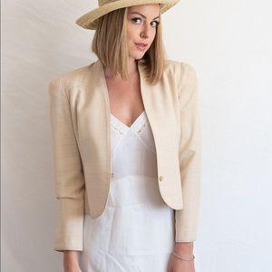 Vintage Raw Silk Crosshatch Cropped Blazer